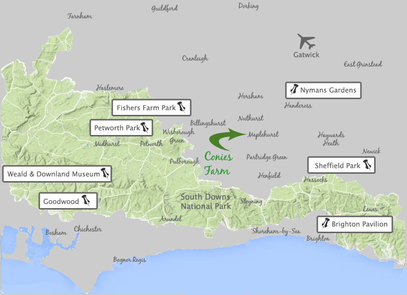 Map Image of South Downs and pointer locations to attractions