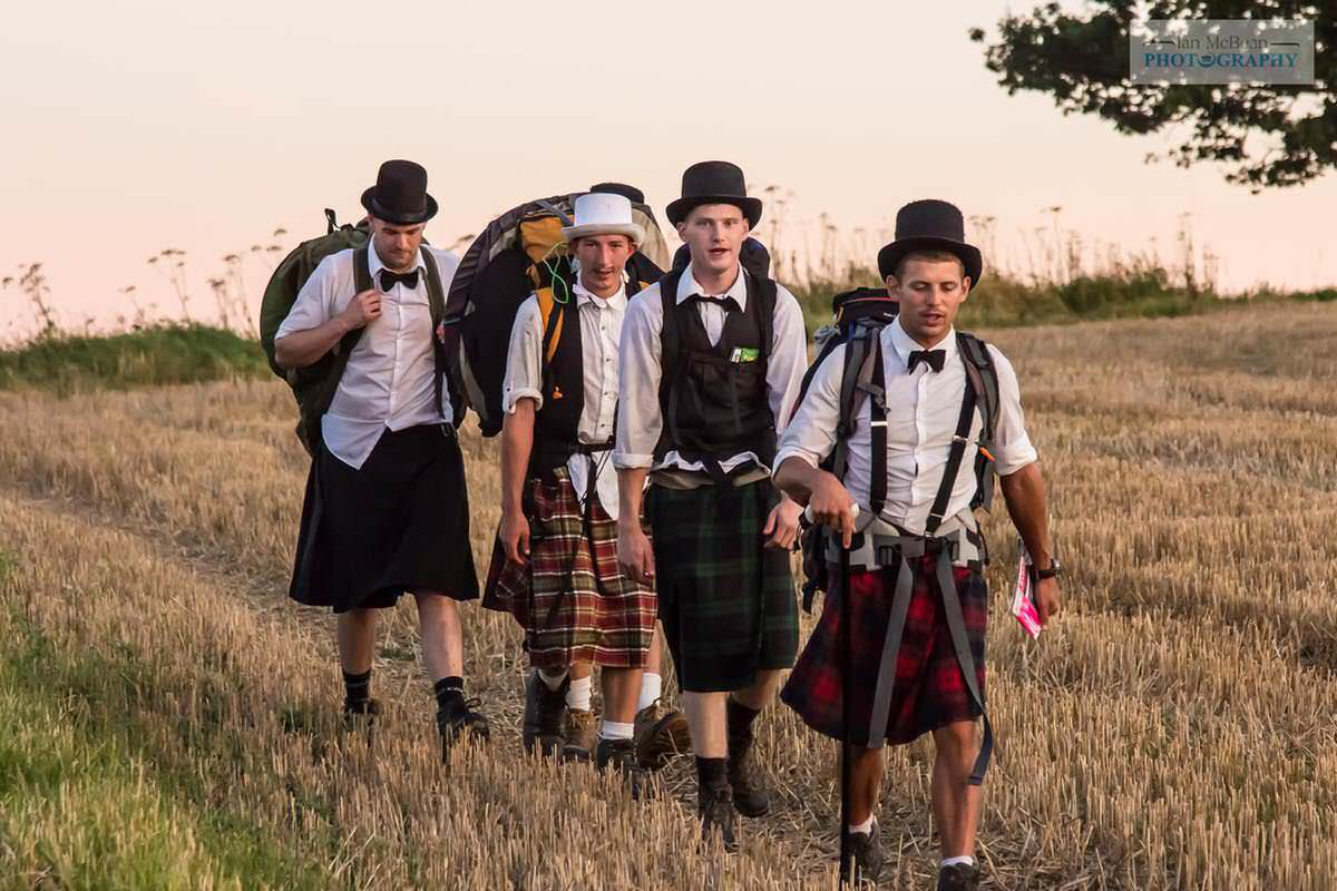 Kilted Hikers on the Downs